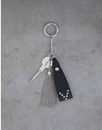 Porte-clefs cuir noir et pompon 392b548094a