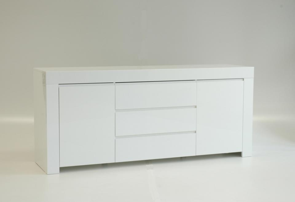 Buffet benol blanc brillant imitation ch ne monument for Buffet haut sejour