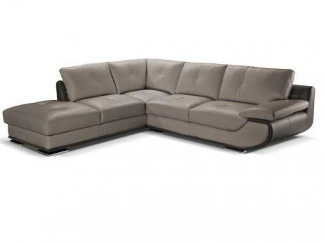 Canape D Angle Cuir Luxe Orgullosa Bicolore Gris Anthracite