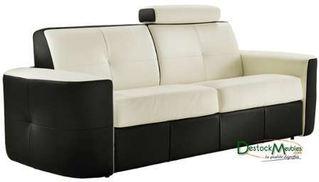 Canape Convertible Rapido Cuir 2 Places Craig Blanc Anthracite