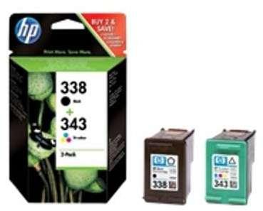 cartouche jet dencre couleur n 338 343 combo pack pour imprimantes hp 350 et 351. Black Bedroom Furniture Sets. Home Design Ideas