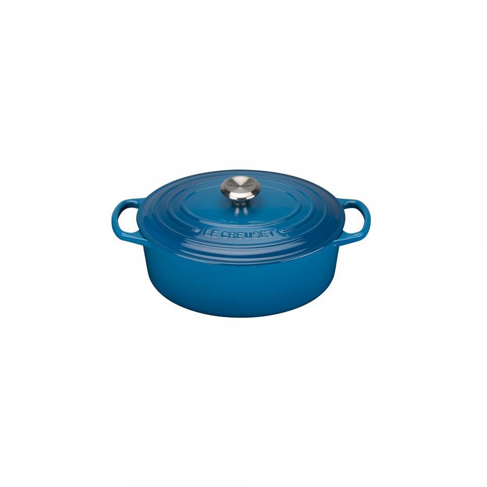 signature cocotte ovale 29cm bleu marseille hauteur sans couvercle 11cm convient toutes. Black Bedroom Furniture Sets. Home Design Ideas