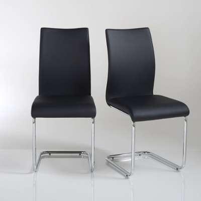 Chaise cantilever maui lot de 2 cuir synthtique gris loftscape for La redoute chaises salle a manger