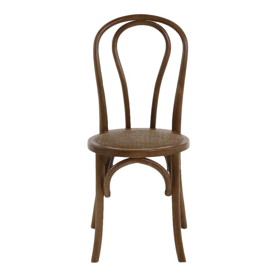 Inwood 2x chaise thonet rotin et bois dorme marron for Chaise en bois et rotin