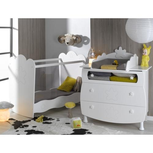 pinolino chambre b b sky blanc lit volutif commode arm. Black Bedroom Furniture Sets. Home Design Ideas