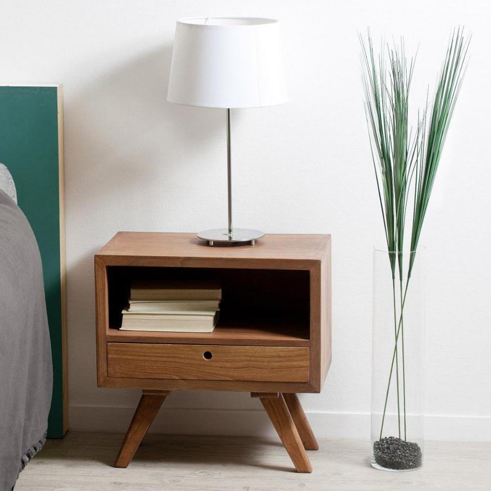 Table de chevet en mindi 45x35x465cm lucie - Table de chevet largeur 30 cm ...