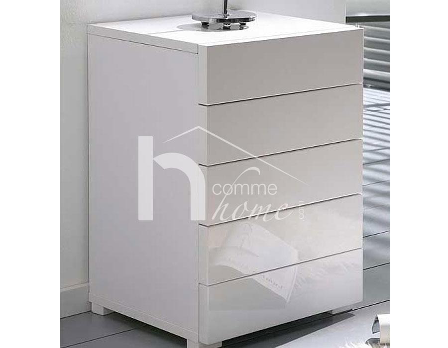 Table de chevet laque blanc brillant chevet 2 tiroirs - Table de chevet blanc laque ...