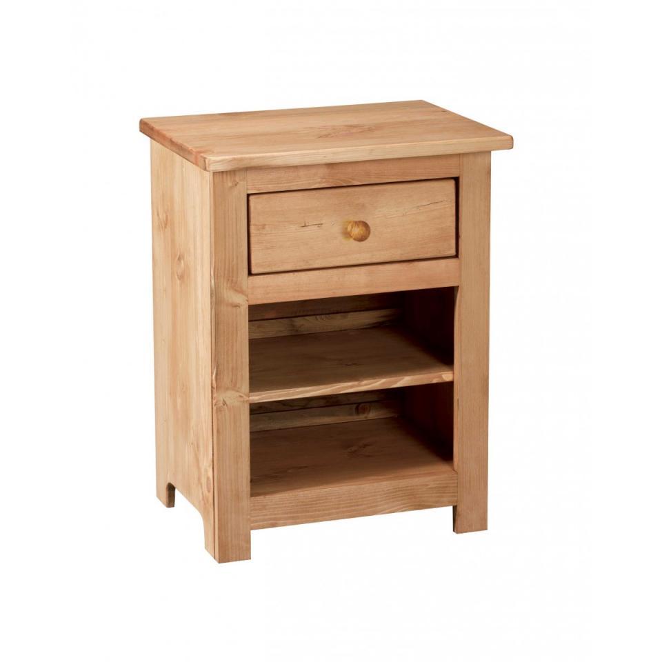 couleurs chevet rustique en pin 1 porte 1 tiroir avec cha. Black Bedroom Furniture Sets. Home Design Ideas
