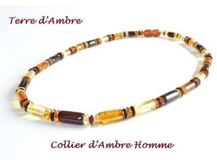 collier en ambre pour homme