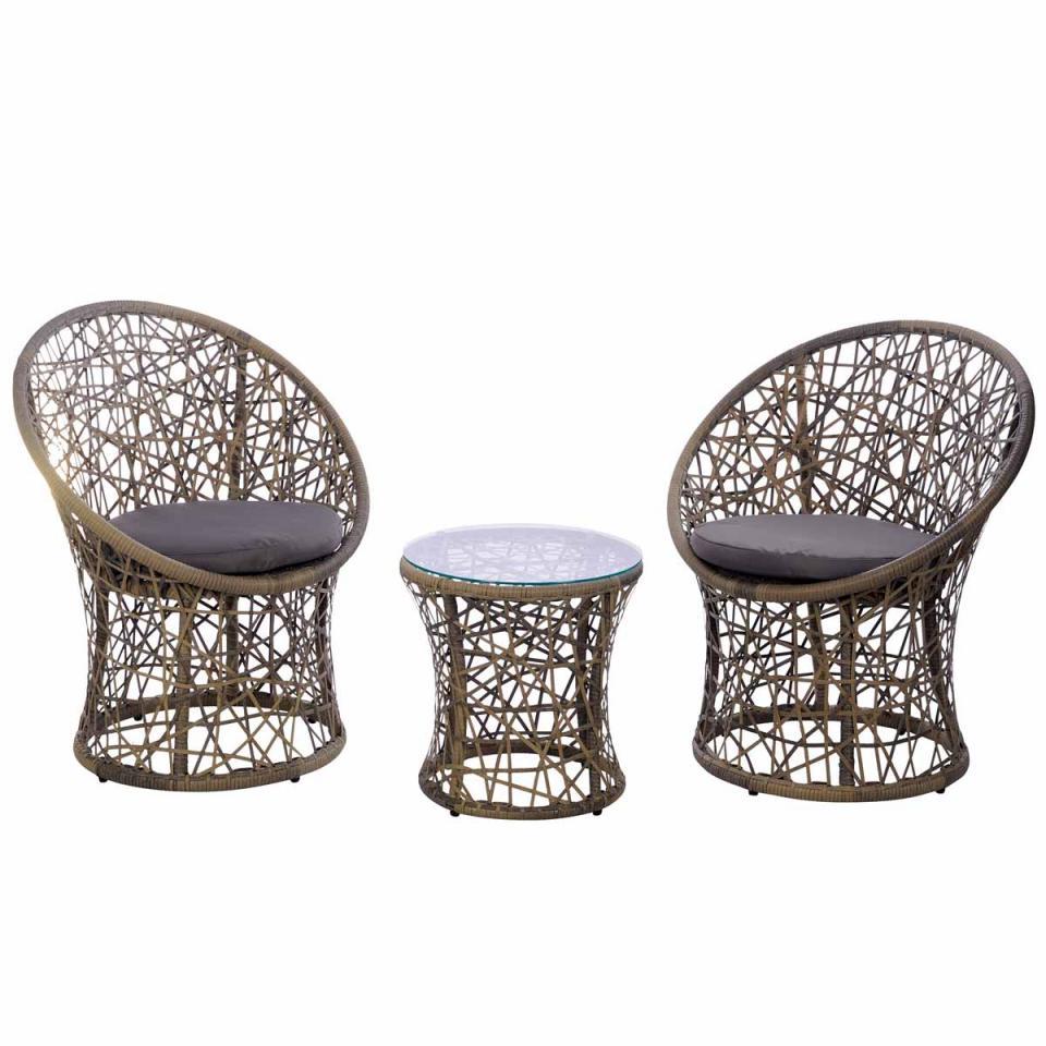 Grosfillex c2 fauteuils de jardin pvc bora rglables bronze for Fauteuil et table de jardin