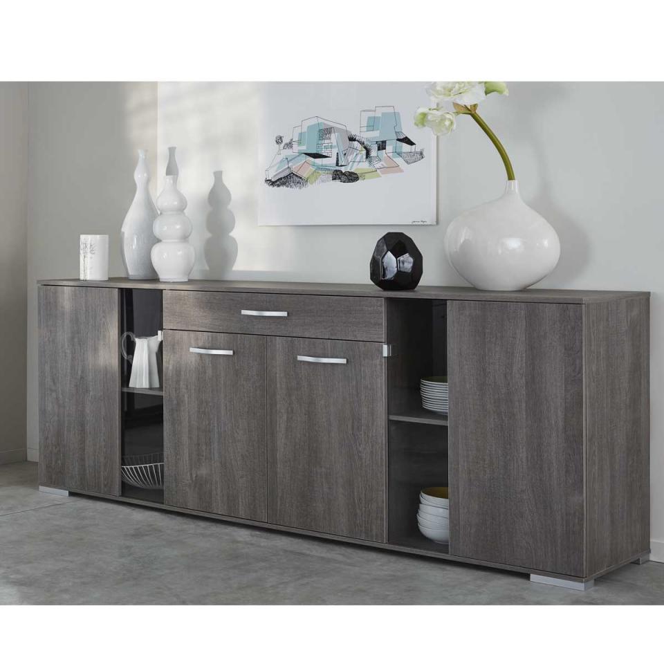 enfilade 4 portes 4 tiroirs chne massif et about huil l182xp44xh85cm hawke. Black Bedroom Furniture Sets. Home Design Ideas