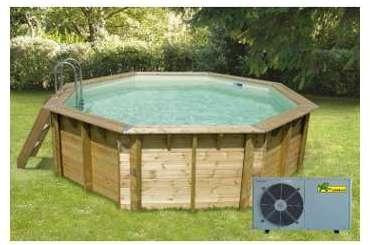 Ubbink piscine bois azura beige 350x505x126cm for Piscine avec liner beige