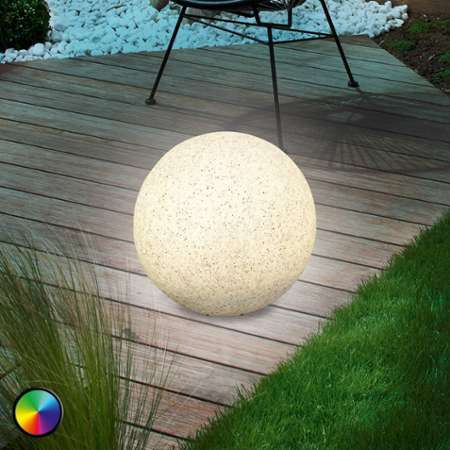 esotec lampe boule solaire couleur changeante ou fixe stone 50 cm. Black Bedroom Furniture Sets. Home Design Ideas
