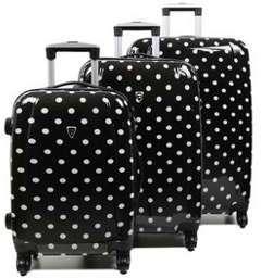 Ensemble 3 valises rigides à pois Madisson Lille 55, 65, 75 cm Blanc