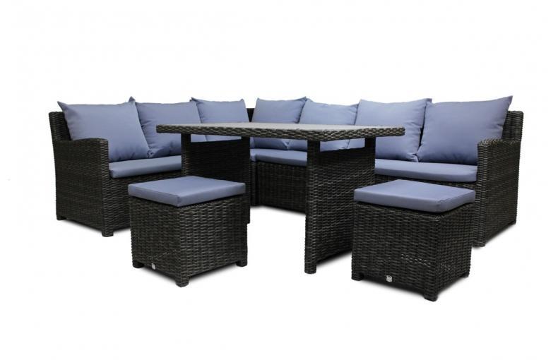 Dcb salon de jardin 4 places table en rsine tresse for Salon de jardin deux personnes