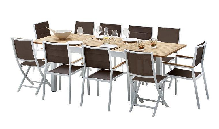 wilsa c garden - salon de jardin modulo 1 table + 4 faut