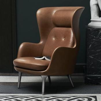 Fauteuil Brun Gris modèle épuré grand fauteuil en tissu