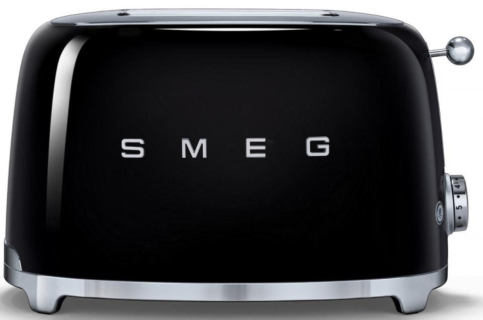 smeg grille pain deux fentes tsf01 noir laqu 6 niveaux de brunissement 31x195x198cm. Black Bedroom Furniture Sets. Home Design Ideas