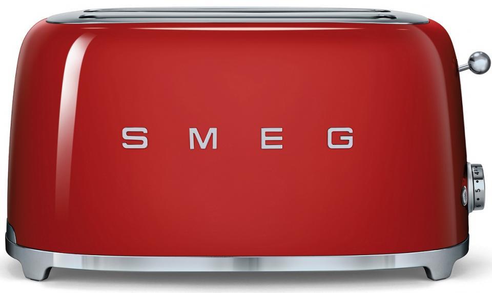 Smeg grille pain 4 fentes tsf02 rouge laqu 6 niveaux de brunissement 394x208x215cm - Grille pain smeg solde ...
