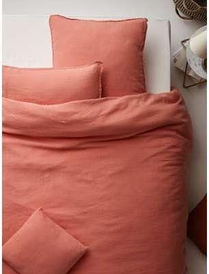 declikdeco chousse de couette lin lave 220x240 corail. Black Bedroom Furniture Sets. Home Design Ideas