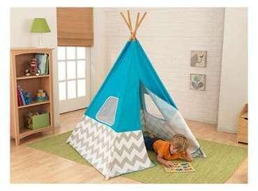 Deuz tente enfant en bois et coton bio blanc avec motif for Tente enfant exterieur