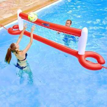 Toboggan gonflable pour piscine enterre toboggan - Filet de volley piscine ...