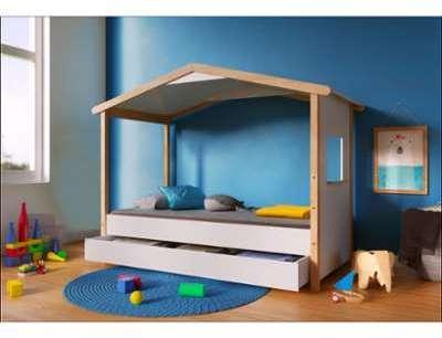cabane en bois enfant a peindre 123 x 119 x 158 cm. Black Bedroom Furniture Sets. Home Design Ideas