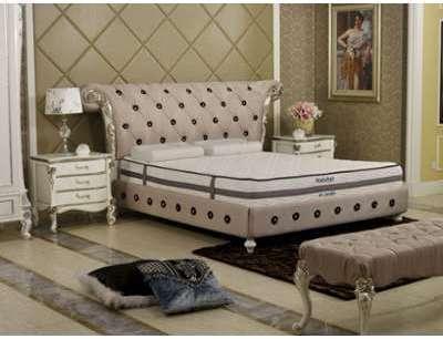 cadre de lit 140 190 pu blanc. Black Bedroom Furniture Sets. Home Design Ideas