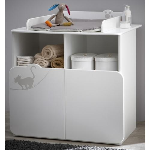 commode a langer blanche raphael 2 portes ou 2 tiroirs. Black Bedroom Furniture Sets. Home Design Ideas