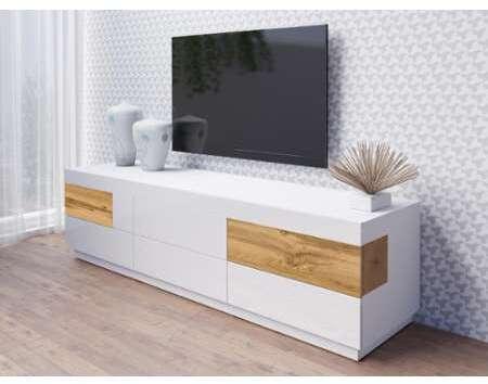 Ateca Tv Meubel.Mobistoxx Meuble Tv Hifi Silac 6 Tiroirs Blanc Chene Wotan