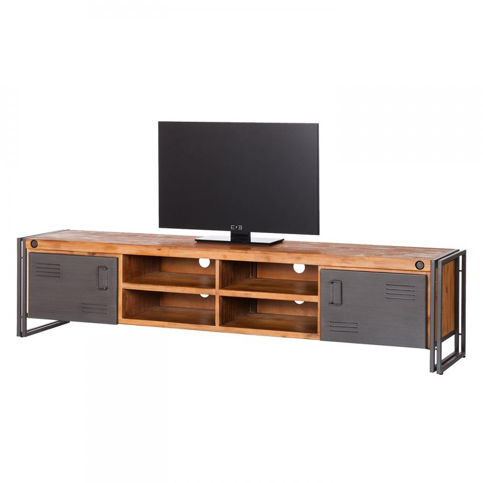 Zago c meuble tv b ton et acacia meridian for Meuble tv zago