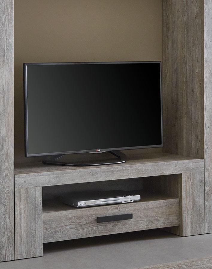 couleurs cmeuble tv pin massif brut et m tal 130cm city. Black Bedroom Furniture Sets. Home Design Ideas