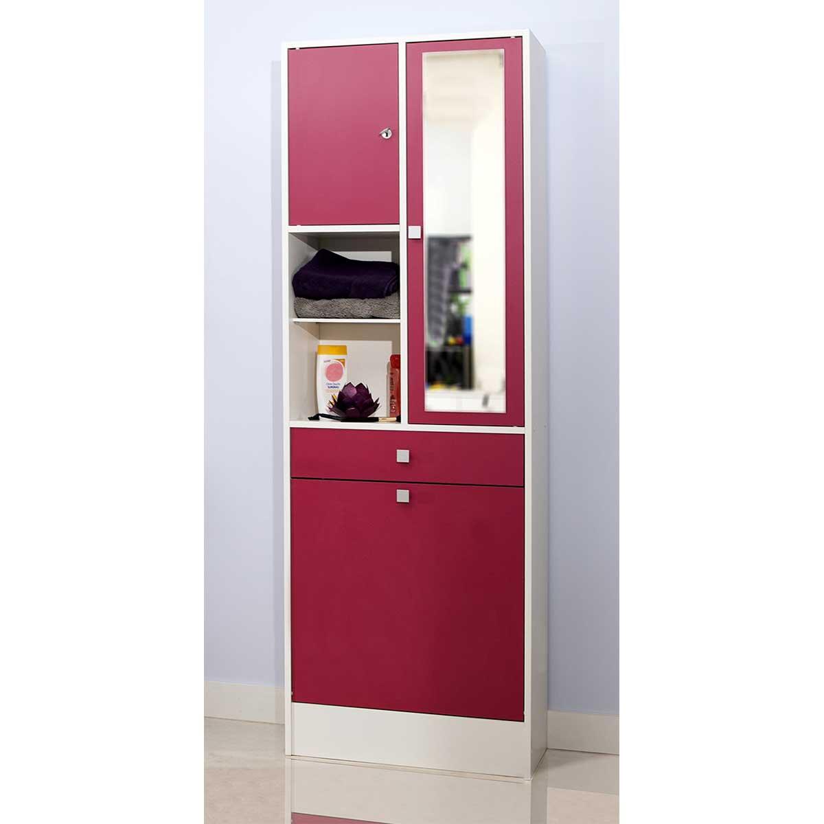 Beliani ccolonne de salle de bain rangement mural beig - Meuble colonne salle de bain conforama ...