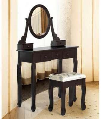 Vidaxl coiffeuse en bois avec 3 tiroirs et miroir pivotan for Meuble coiffeuse blanc