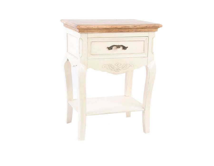 little table de chevet grise romantique laurence. Black Bedroom Furniture Sets. Home Design Ideas