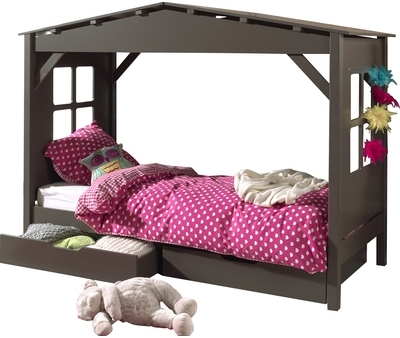 lit cabane 90x200 cm sommier. Black Bedroom Furniture Sets. Home Design Ideas