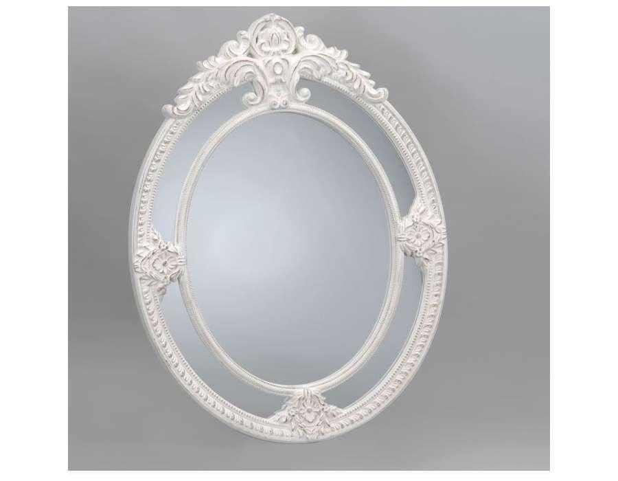 Hudson miroir oval 533 x 444mm reed for Miroir blanc vieilli