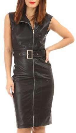 310eda15b6c Robe noire en simili cuir
