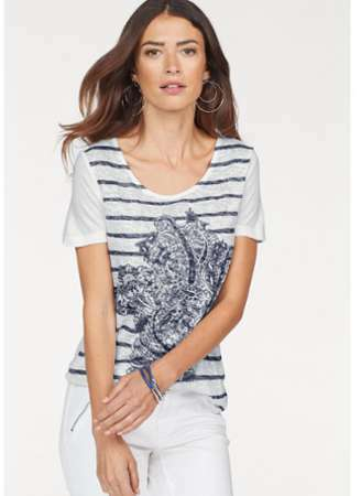 7c5f503a768e T-shirt rayé avec strass manches