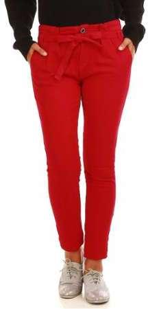 5fe0aa692af6 Pantalon rouge avec ceinture à nouer
