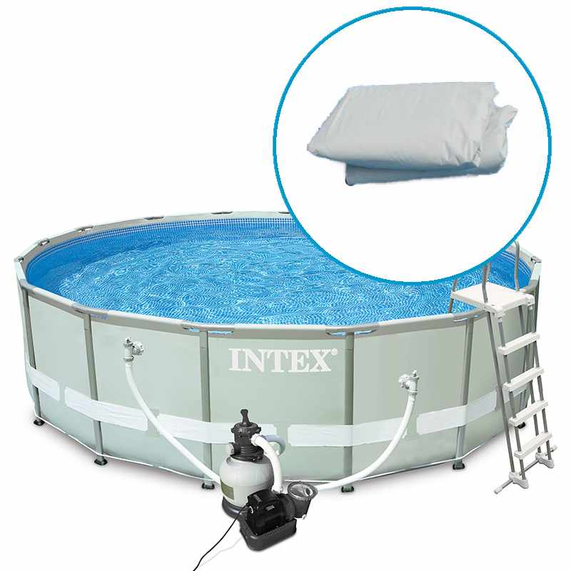 Intex liner tubulaire rond bleu 457 x 107 m liner s for Piscine intex liner