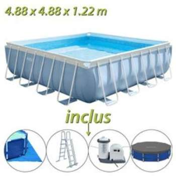 Intex piscine prism frame 366 x h122m for Liner piscine tubulaire intex 4 88