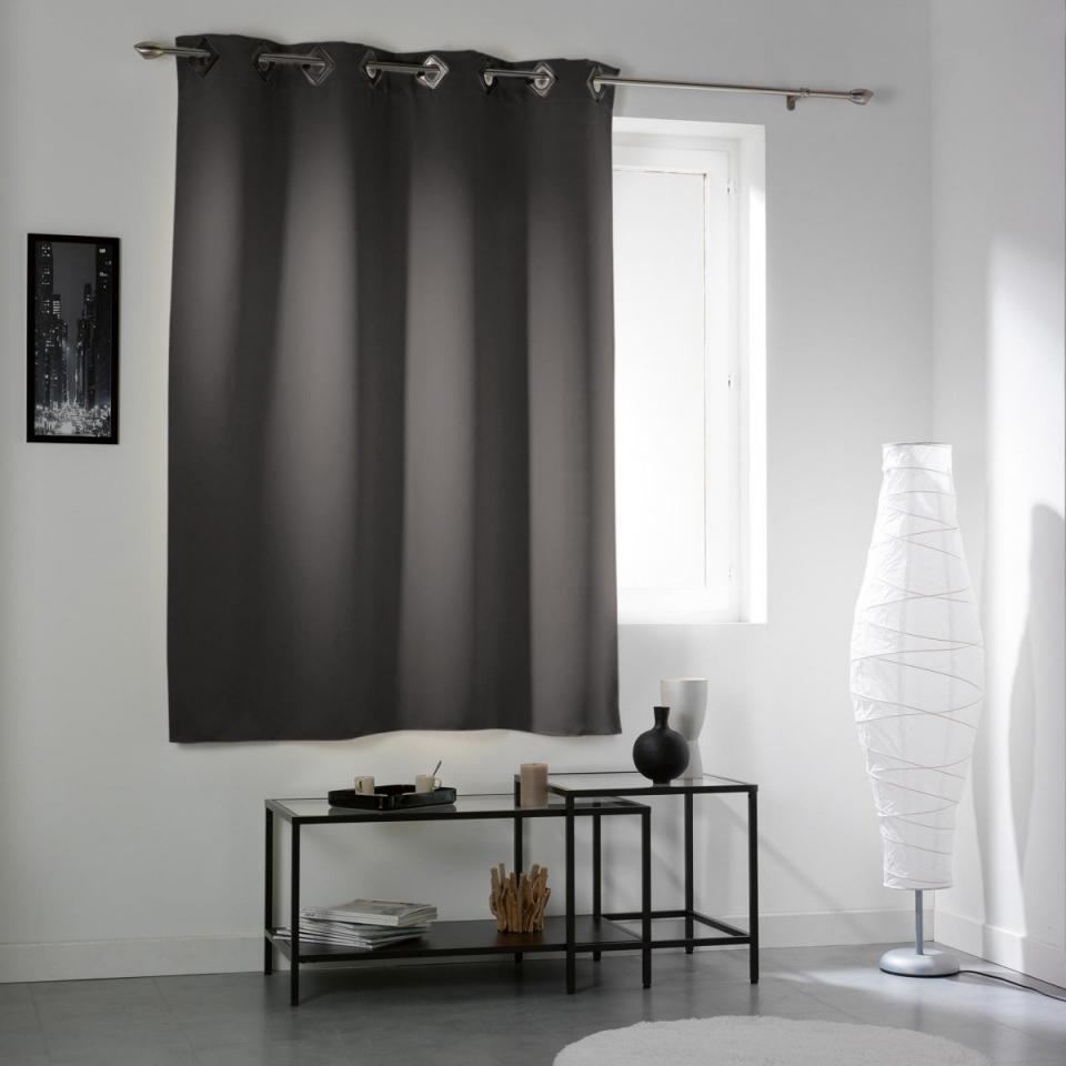 homemaison rideau uni en shantung occultant 3 couches. Black Bedroom Furniture Sets. Home Design Ideas