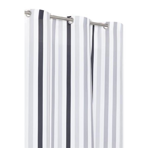 rideau de douche design ray gris et blanc milleraies 180 x 200cm. Black Bedroom Furniture Sets. Home Design Ideas