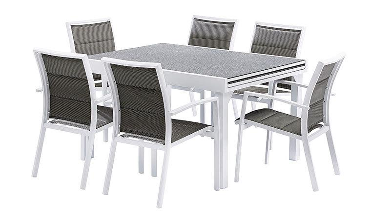 Table Aluminium De Jardin Plateau Immitation Pierre