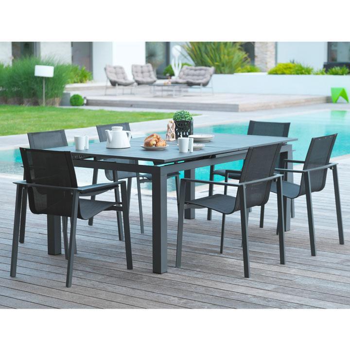 concept miami 4 noir gris ensemble 4 personnes en r sine tress e noire poly rotin. Black Bedroom Furniture Sets. Home Design Ideas