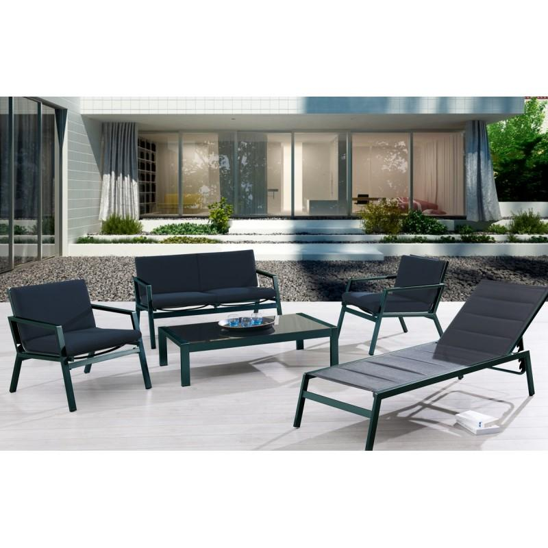 dcb salon de jardin 4 places table en rsine tresse plateau verre avec fauteuils encastrable. Black Bedroom Furniture Sets. Home Design Ideas
