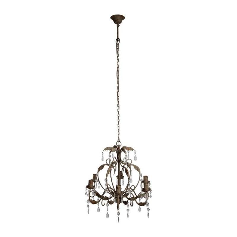 Sampa charles lustre 6 branches blanc suspension heli for Lustre baroque blanc