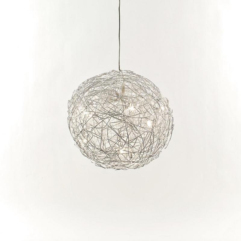 lucide suspension en fil de fer diamtre hauteur 40cm ricky noir. Black Bedroom Furniture Sets. Home Design Ideas