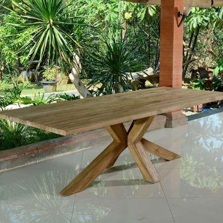 table de jardin en teck recycle